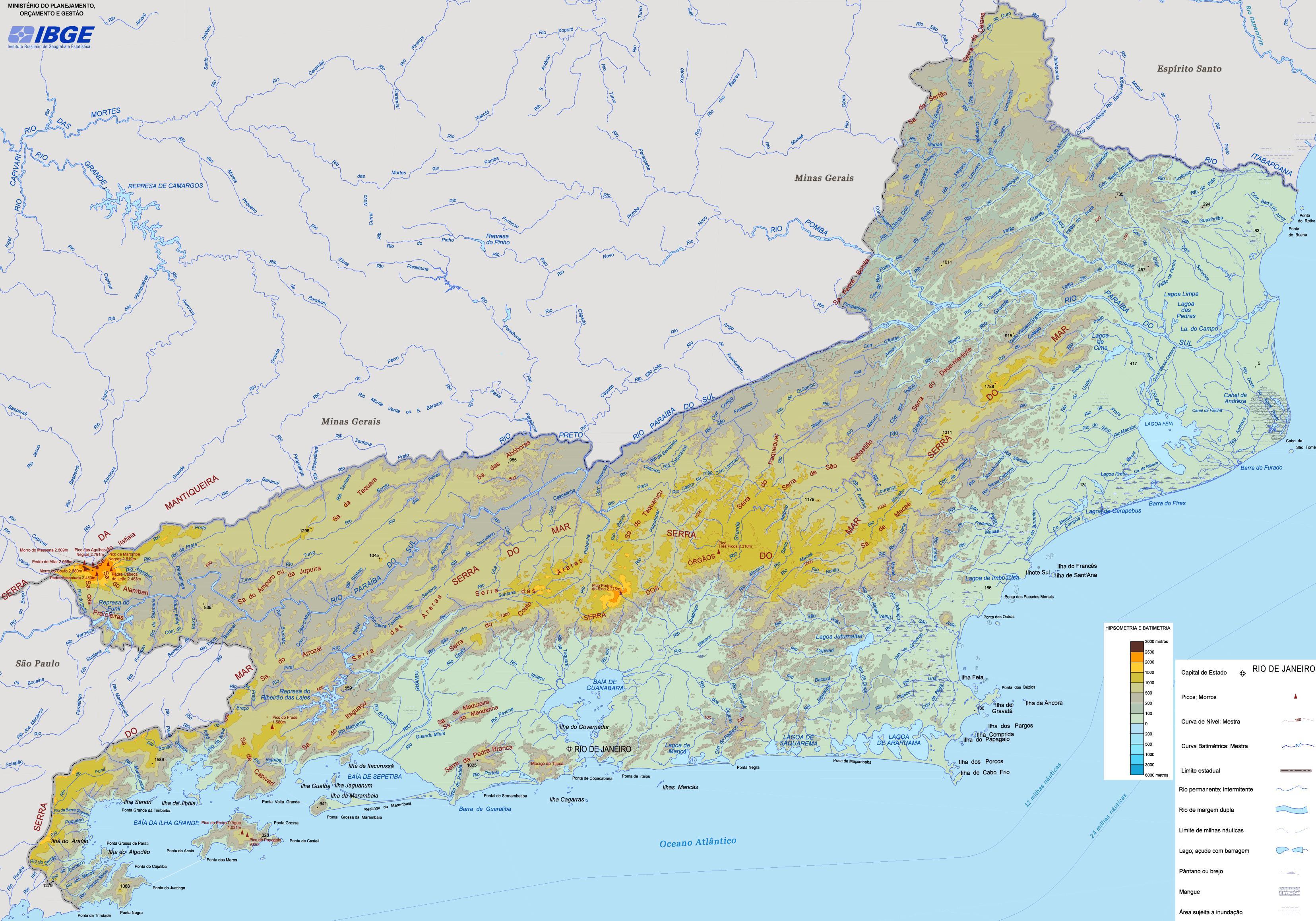 Carte Bresil Relief.Plan Relief Etat De Rio De Janeiro Carte Relief Etat De Rio De