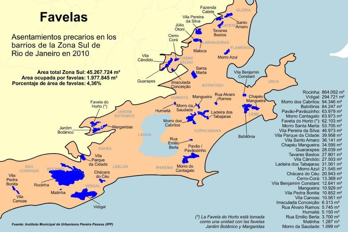 Favelas Bresil Carte.Plan Favelas Zone Sud Rio De Janeiro Carte Favelas Zone